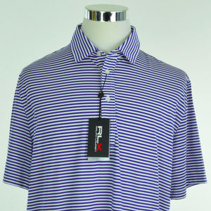 RLX GOLF Ralph Lauren Mens Polo Shirt L White Blue